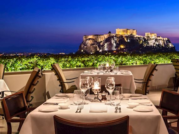 GB roof garden restaurant at night with views to the acropolis