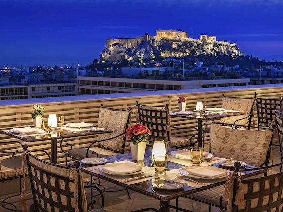 night view to the acropolis from Tudor Hall restaurant